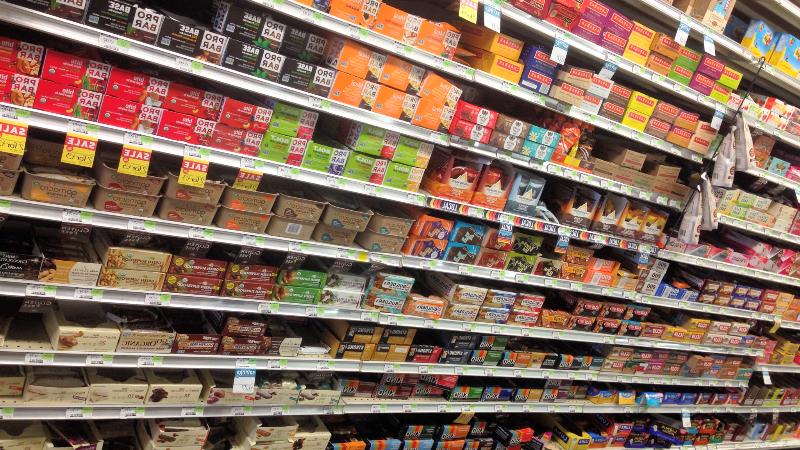 Whole Foods energy bar shelves
